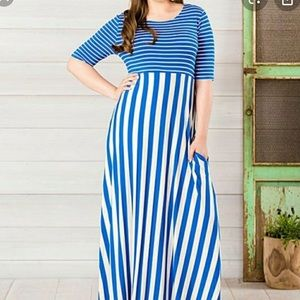 Matilda Jane Size Large Blue Striped Maxi NWT
